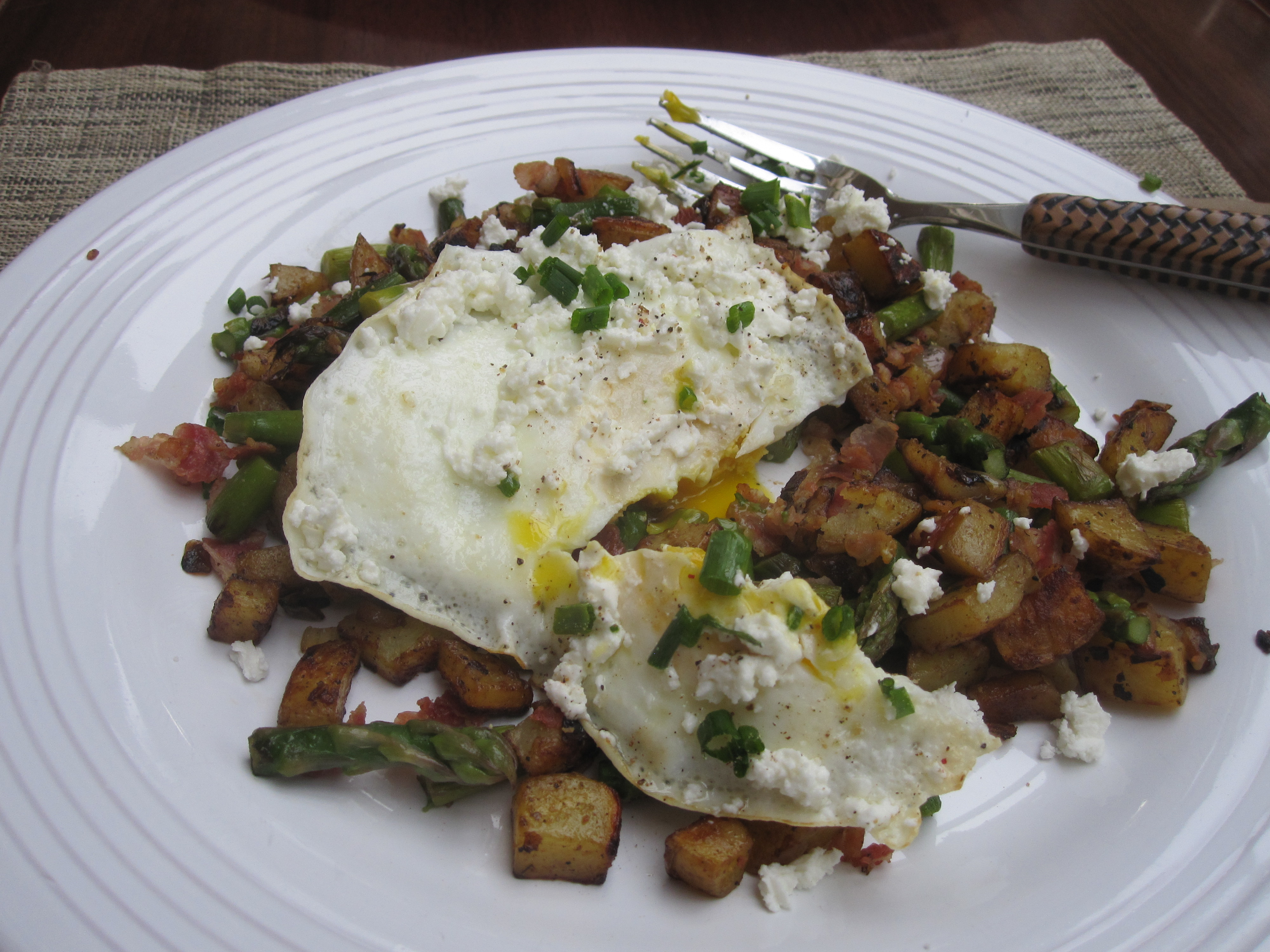 hash with potatoes asparagus & pancetta | eat. cook. blog.