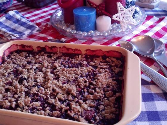 "Summer Berry Crisp.  And look how beautiful it is sitting on Sandy's adorable Memorial Day ""tablescape""!!!"