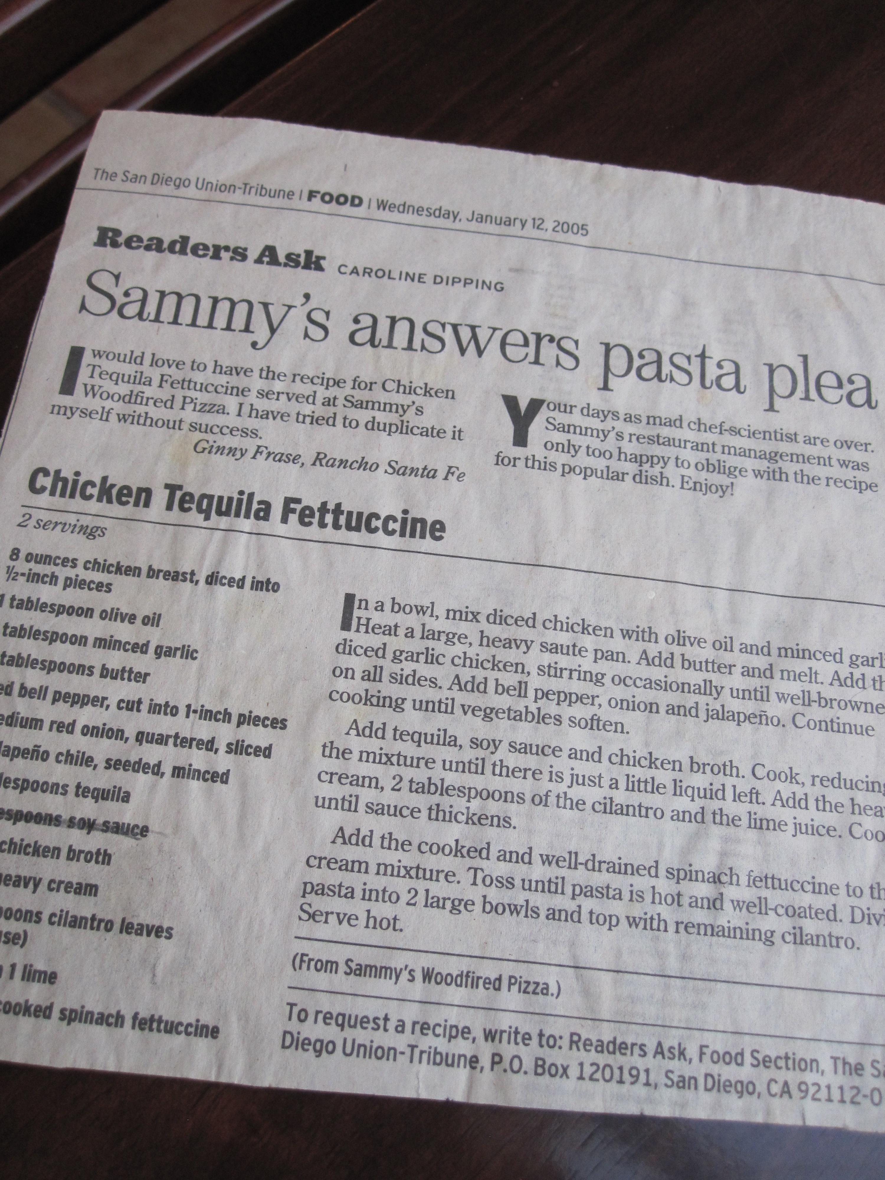sammy's chicken tequila fettucine   eat. cook. blog.