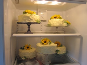 All decorated and in the fridge at the White Barn (the morning of the wedding)