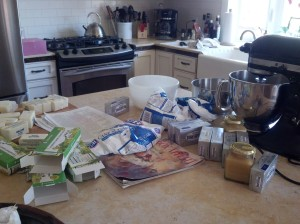 Getting ready to frost the cakes in our super gorgeous gourmet kitchen at the house we rented
