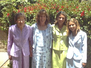 Four Generations! Gramma Lulu, my mom, me and my daughter Ally (at Ally's bat mitzvah in 2003)